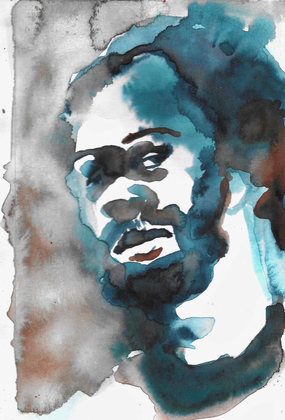 Watercolor Study of Man with Beard